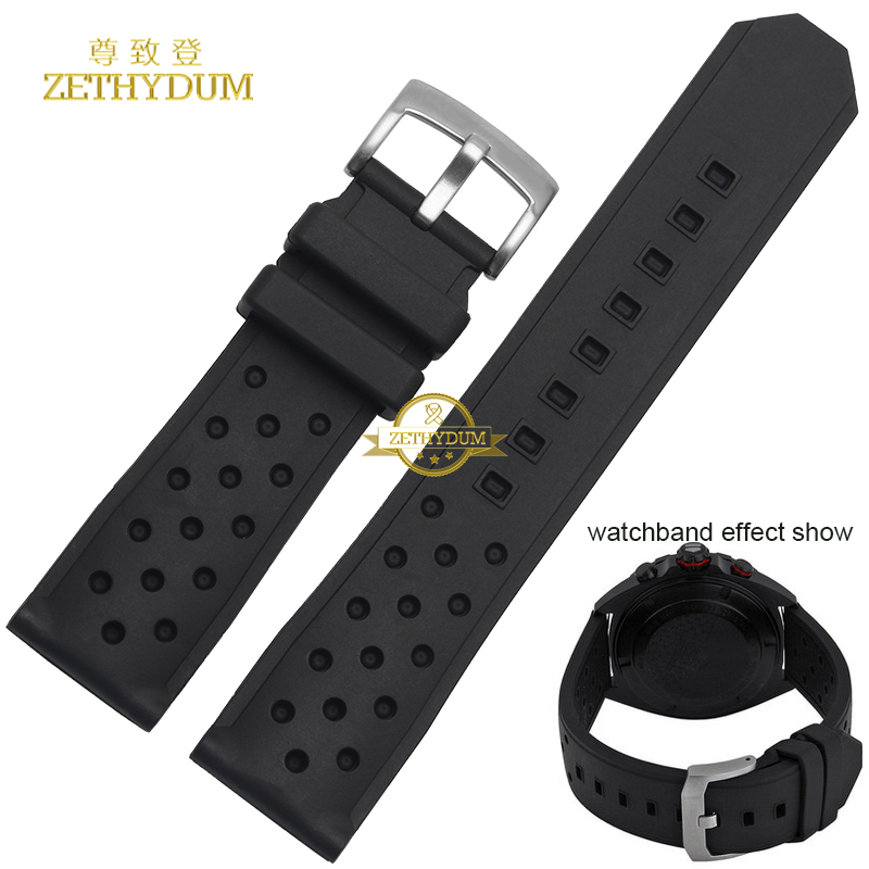 silicone rubber watchband waterproof black soft and comfortable sport Watch strap 22mm breathable holes belt for