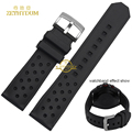 silicone rubber watchband waterproof black soft and comfortable sport Watch strap 22mm breathable holes belt for hy