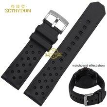 Caoutchouc bracelet en silicone étanche noir doux et confortable sport Montre bracelet 22mm respirant trous ceinture pour hy