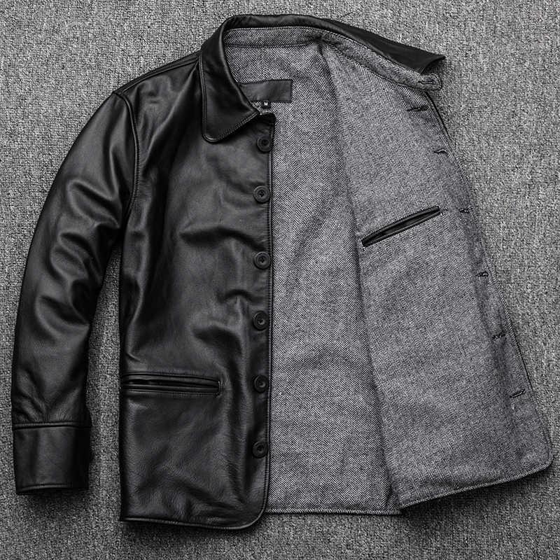 de3a0ce1ce1 ... AYUNSUE Genuine Leather Jacket Men Autumn Cowhide Coat Short Slim Men s  Cow Leather Jackets 2018 Chaqueta ...