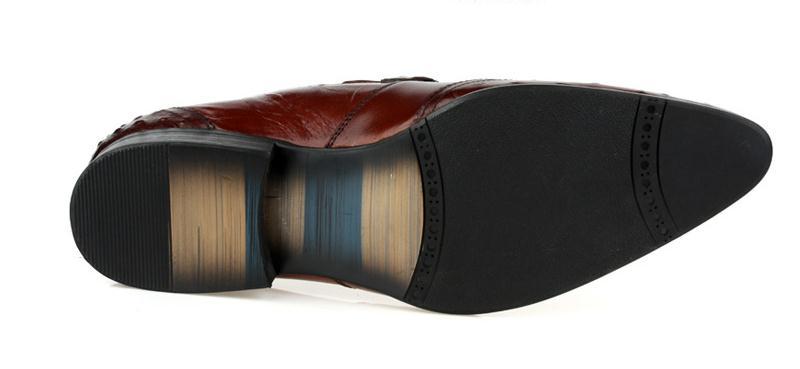 Black Grau red Genuíno Brown Qualidade Escritório Avestruz Padrão Dos Tamanho Vestido De Homens Alto Homem Casamento Couro Trabalho Sapatos Moda 10 Do AanFxwRF