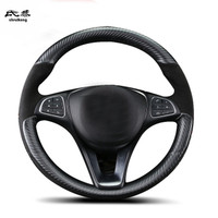 Free Shipping Hand sewing Carbon fiber leather steering wheel decoration cover for Mercedes Benz C200 E300 C180 GLA