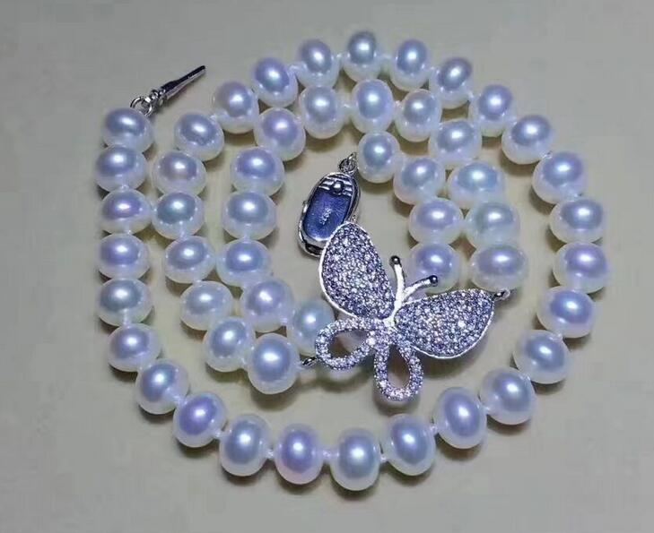 gorgeous round 9-10 mm white pearl necklace 18inch 36gorgeous round 9-10 mm white pearl necklace 18inch 36