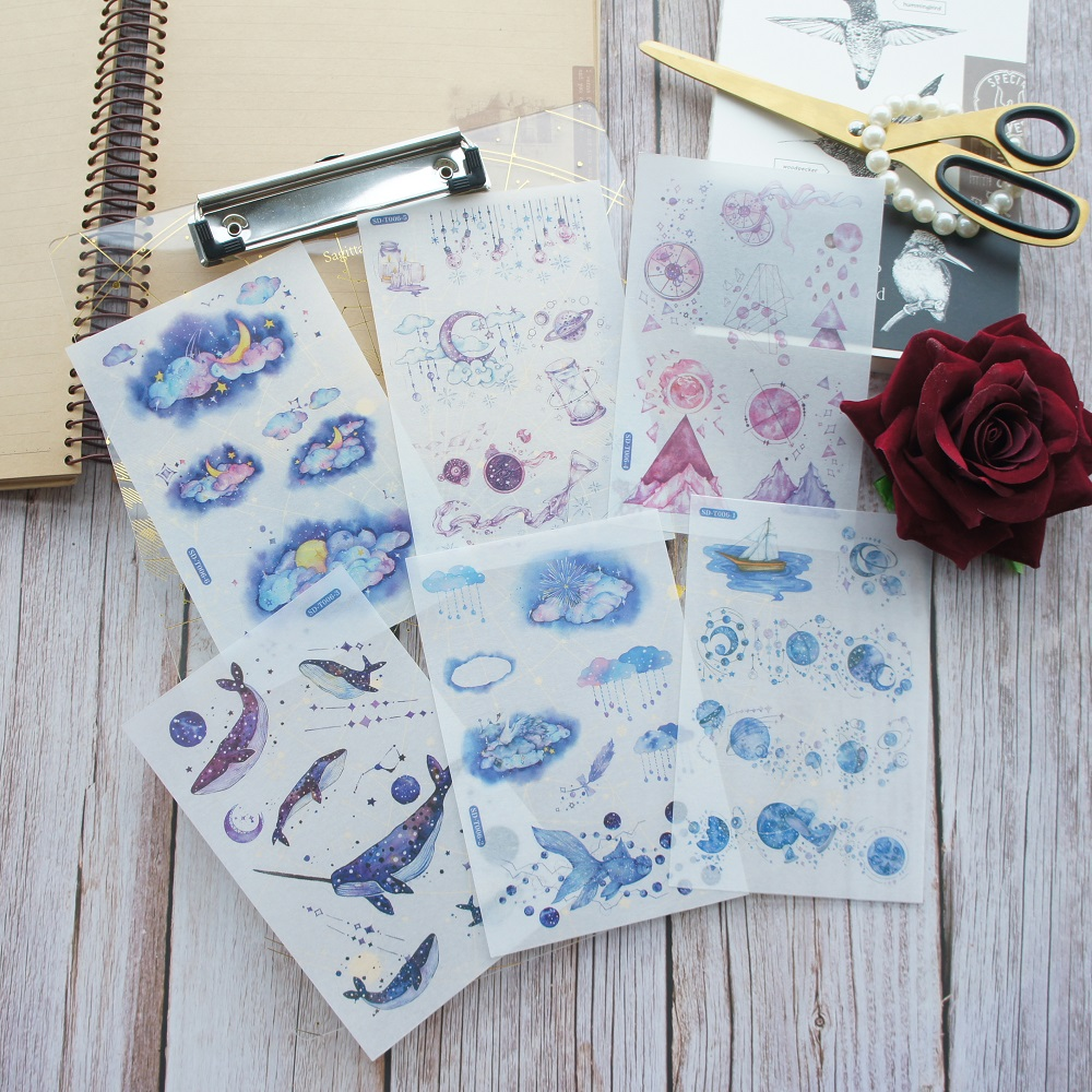 6 Sheets From Night Sky To Sea Star Moon Design Washi Paper Sticker As Scrapbooking DIY Gift Packing Decoration Tag