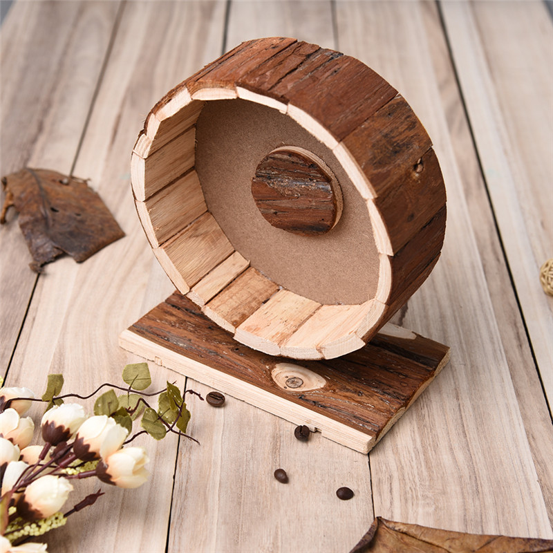 Cute Wooden Chew Toys Exercise Wheel for Little Pets Hamster chinchillas Guinea pigs