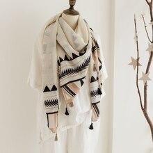 2018 Newest Women Geometry Pattern Square Cotton Tassel Scarf 10PCS/LOT