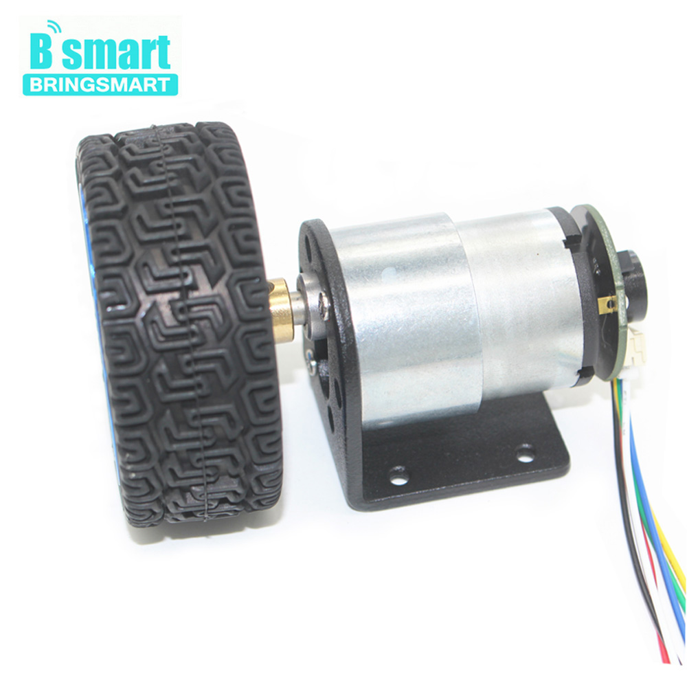Wholesale JGB37-520 12 Volt Gear Motor With Encoder Mounting Bracket, Coupling And Car Wheel For Motor DIY wholesale bringsmart 37mm diameter gear motor mounting bracket with screw shaft coupling for diy car use fixed motor bracket