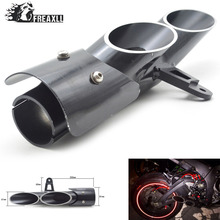 Universal Motorcycle dual toce slip-on Exhaust Muffler double holes for R6 2006-2015 CBR500R GSXR1000R CBR1000RR Stainless Steel dle111 double holes exhaust
