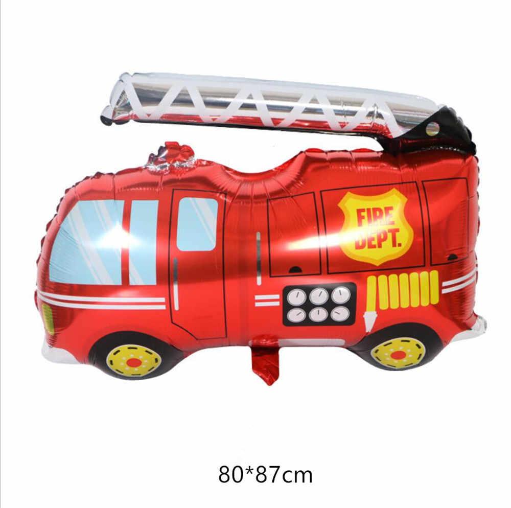รถ Fire รถบรรทุกบอลลูน PARTY Baloons PARTY ตกแต่งฟอยล์บอลลูนวันเกิด PARTY Decor เด็กหมวกการ์ตูน