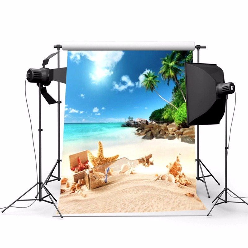 3x5ft Thin Vinyl Photography Background Summer Beach Scene Photographic Backdrop For Studio Photo Prop Cloth 0.9x 1.5m