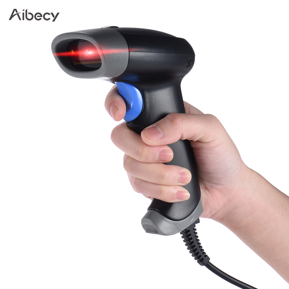 Original Aibecy 2D QR 1D USB Barcode Scanner CCD Red Light Scanning Bar Code Reader Scanners for Wechat Alipay Mobile Payment