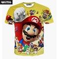 Nova Moda Verão 2017 Das Mulheres Dos Homens 3d Camiseta Mario Capitão américa joker leão doge cat lively imprimir t-shirt anime com yz638