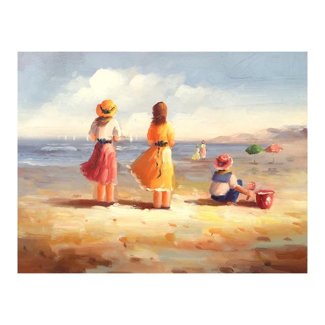 Popolare Dipinto a mano dipinti famosi bambini Giocano sul mare astratta  YO64