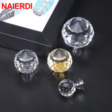 NAIERDI 20mm/30mm/40mm Round Diamond Crystal Glass Knobs Cupboard Pulls Colorful Drawer Cabinet Handles Furniture Handle