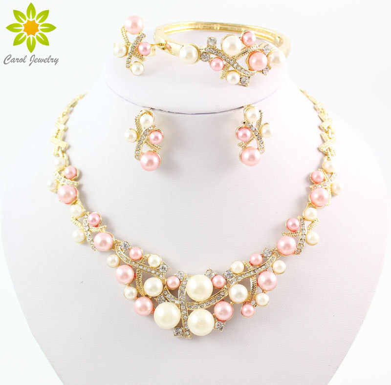 Gold Color Simulated Pearl Classic Jewelry Set Alloy Vintage African Beads Jewelry Sets For Women Imitation Wedding Accessories