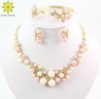 Colore dell'oro Perla Simulata Classico Insieme Dei Monili Della Lega Dell'annata Beads Africani Jewelry Set Per Le Donne Imitazione Accessori Da Sposa