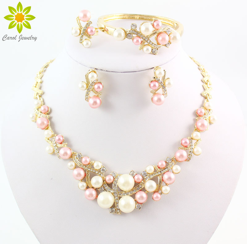 Gold Color Simulated Pearl Classic Jewelry Set Alloy