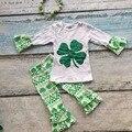 Весна санкт пэтти КОСТЮМЫ девушки бутик одежды девушки хлопок-Й день Святого Патрика костюм полный ацтеков пант с соответствующими лук и ожерелье
