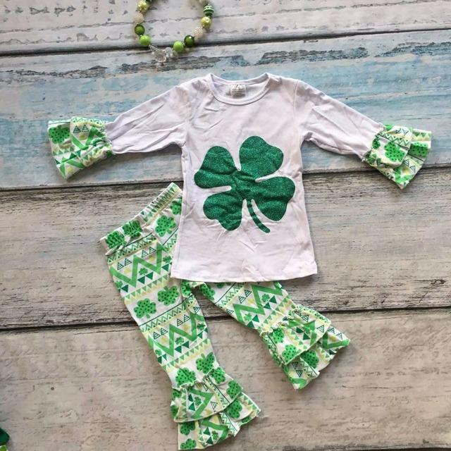 Rissol da primavera ROUPAS meninas boutique de roupas meninas algodão St. Patrick dia asteca pant terno completo com curva de harmonização & colar