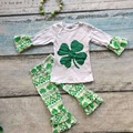spring saint patty OUTFITS girls clothing boutique girls cotton St.Patrick day suit full aztec pant with matching bow & necklace