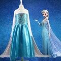 Vestido de las muchachas Del Verano 2016 Ice Blue Girls Ropa Elsa Anna Princesa Cosplay de Encargo de la Boda Del Partido Del Vestido Vestidos de Las Muchachas del Vestido