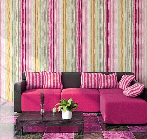 Modern minimalist colored vertical stripes non woven wallpaper shop ...