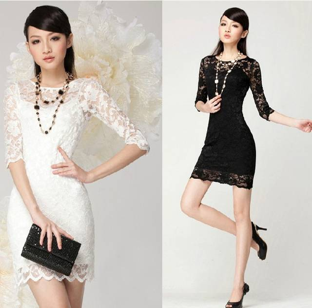 2017 Brand New Hot Stylish Women's Mini Lace Dress Slim Sexy Ladies' O-Neck 3/4 Sleeve Party Dresses Vestido  Ropa Mujer