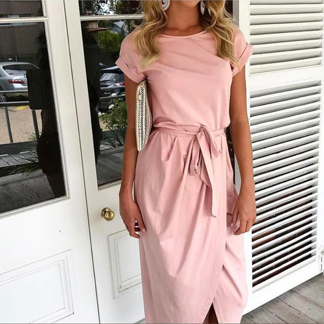 Solid Slit O-Neck Maxi Dress with Belt