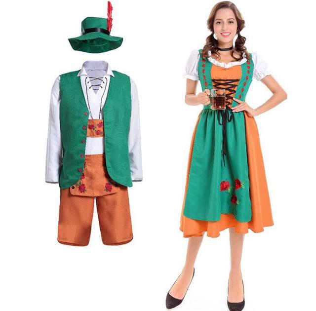 Oktoberfest Beer Girl Costume Halloween Women Bavarian Mens Oktoberfest  German Beer Man Lederhosen Fancy Dress eb2708b6341e