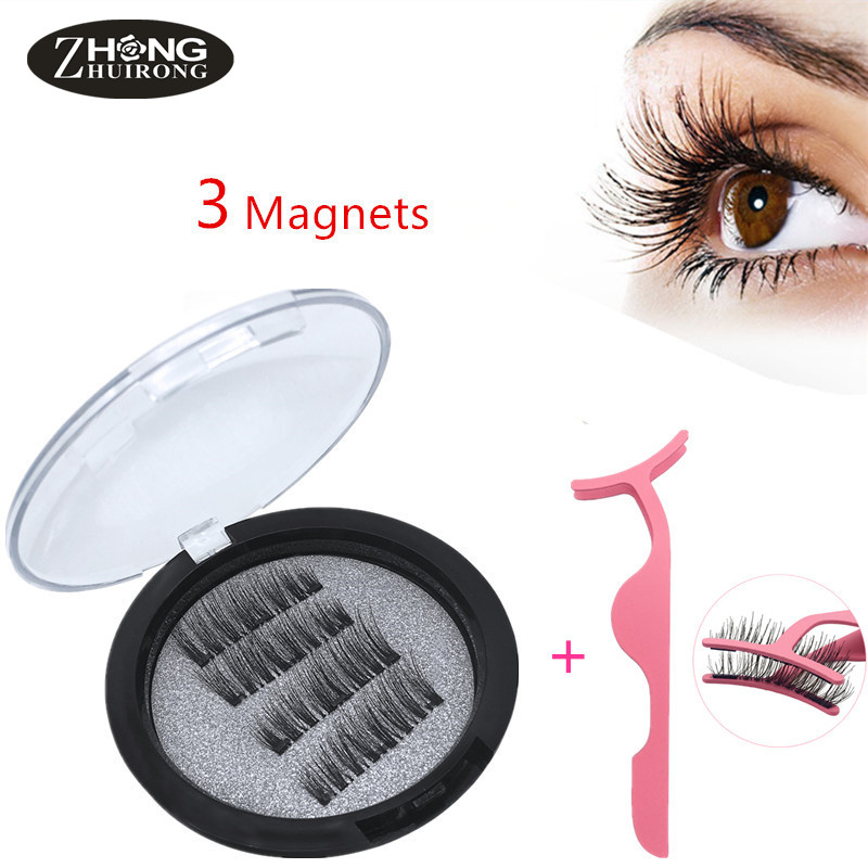 Magnetic Eyelashes With 3 Magnets Natural Handmade 3D False Eyelashes Eyelash Extension With Eyelash Applicator KS02-3