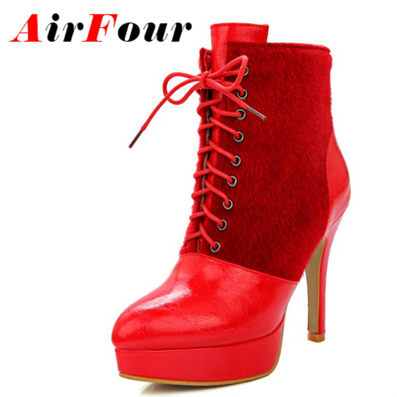 ФОТО Airfour New Fashion Women Lace-up High Heels Round Toe Ankle Boots for Women Winter Boots Platform White Shoes Large Size 34-46