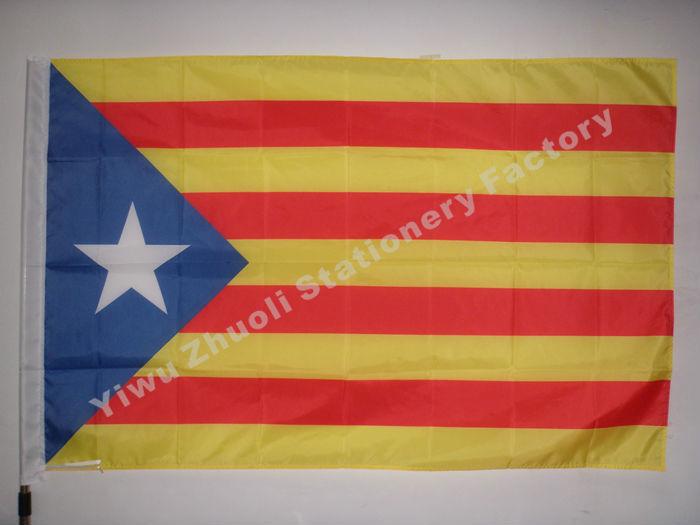 Spanyolország Catalunya Flag 150X90cm (3x5FT) 120g 100D poliészter kettős öltésű, kiváló minőségű, ingyenes szállítás Estelada Blava White Star