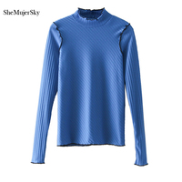 SheMujerSky Women Knitted Blouse Ruffled Neck Long Sleeve Autumn Shirt Blue Black Womens Tops Blusa Mujer