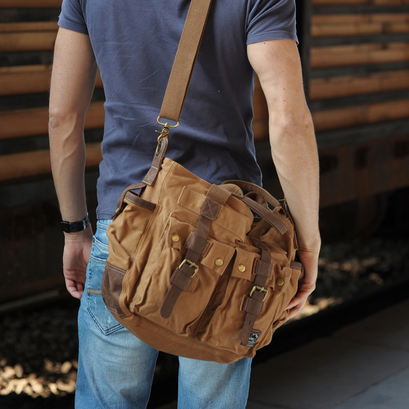 Free shipping cotton vintage genuine leather canvas men's ...
