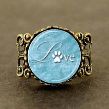 Steampunk LOVE PAW PRINT Ring Love Animals Ring Aqua Blue and White Paw Print Animal Lover Jewelry Gift(China)