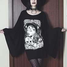 Goth Dark Grunge Black Print T-shirts Gothic Loose Punk Harajuku Streetwear Autumn 2019 LongT-shirt Female Aesthetic T shirt