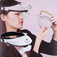 Headband LED Lamp Light Illuminating Magnifier Glass Loupe Headlamp Detachable with 5 Replaceable Lens CLH@8