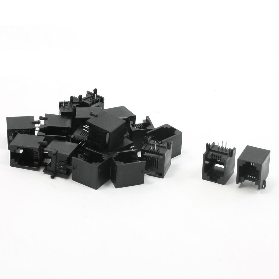 High Quality 20pcs RJ11 6P4C Computer Internet Network PCB Jack Socket Black 24 pcs rj45 modular network pcb jack 56 8p w led 4 ports