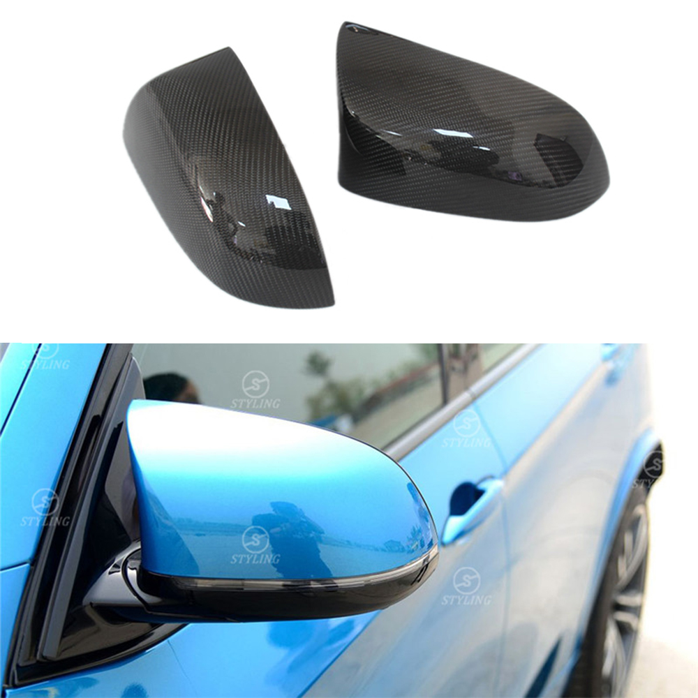 For BMW F85 F86 Carbon Fiber Mirror Cover X5M X6M F85 F86 Carbon Rear Side View Mirror Cover Car styling 2015 2016 2017 - UP epr car styling for nissan skyline r32 gtr gtst carbon fiber mirror cover glossy fibre exterior side accessories racing trim