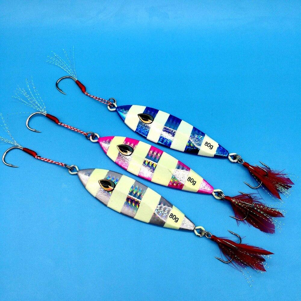 HOOFISH 3PCS/LOT Metal Jigging Fishing LURE 80g/9cm 3colors Slow Jig hard lure Deep Sea Saltwater Fishing Lures
