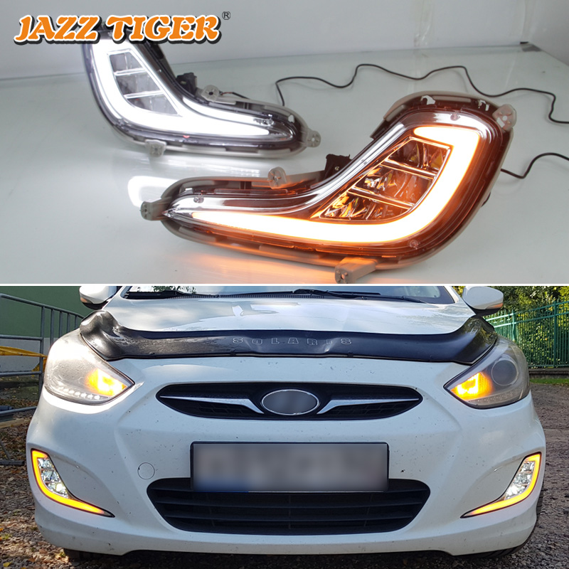 JAZZ TIGER Yellow Turn Signal Function 12V Car DRL LED Daytime Running Light Fog Lamp For Hyundai Accent Solaris 2010 - 2013 12v car led drl daytime running light fog lamp cover with turn signal light for hyundai elantra 2016 2017