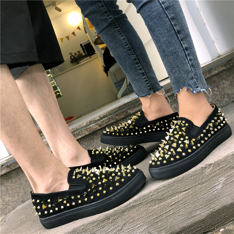 Autumn Big Size Rivet Red Platform Flats Women Loafers Slip On Solid Round Toe Creepers Lady Casual Fashion Couple Flat Shoes