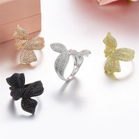 ZOZIRI fashion 925 sterling silver Bowknot Rings Micro Pave cubic zirconia butterfly ring for rings women accessories four color