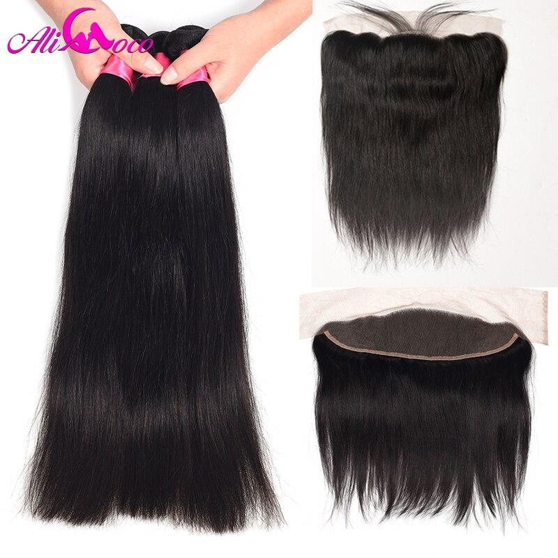 Али Коко перуанский прямые волосы 3 Комплект s с фронтальной натуральные волосы Комплект и 13x4 кружева Фронтальная застежка с комплект s-Remy