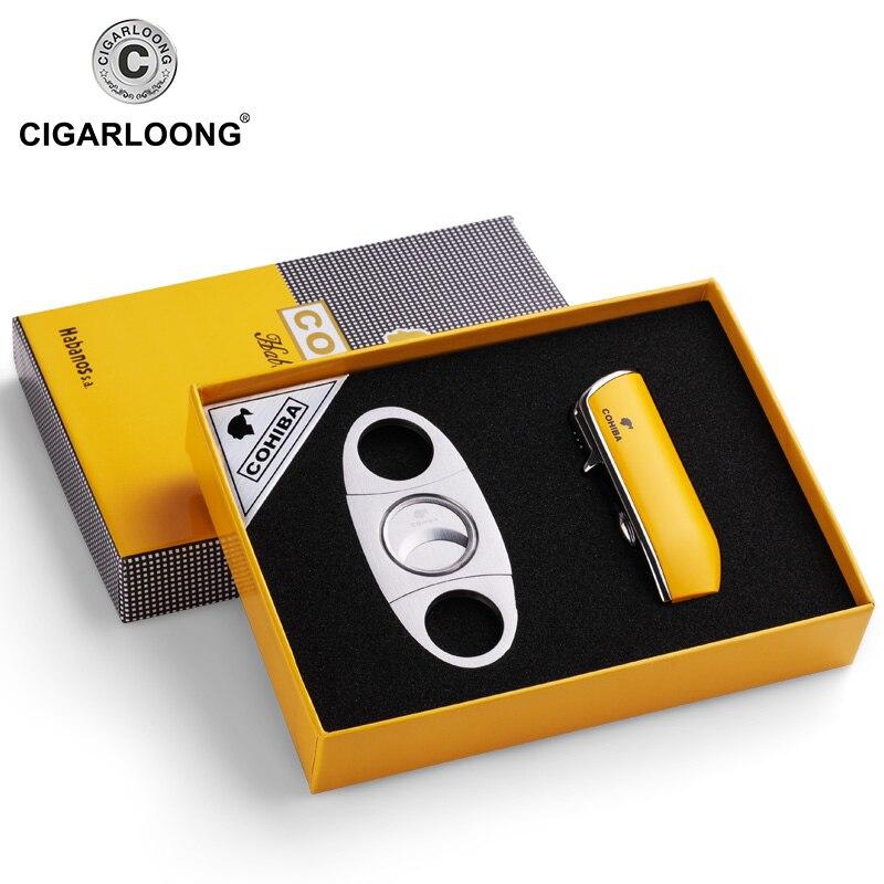 COHIBA Windproof 3 Torch Jet Flame Butane Gas Metal Cigar Lighter with Cigar Cutter Gift Set CL-TZ009a
