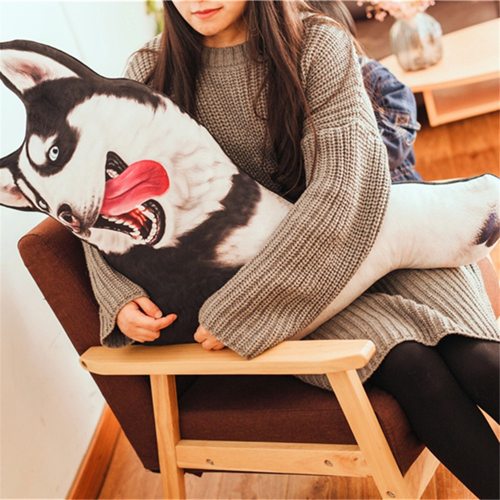 Fancytrader Pop Cute Animal Husky Plush Toy Big Stuffed Cartoon Dog Doll Animals 3D Printed Pillow 4 Models 28inch 70cm stuffed animal lovely husky dog plush toy about 100cm prone dog doll 39 inch throw pillow sleeping pillow toy h889
