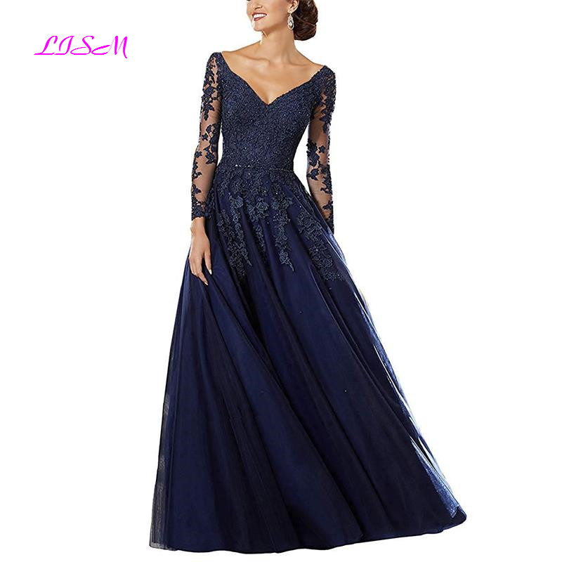 V-Neck Beaded Lace Appliqued Mother Of The Bride Dress Long Sleeves Bodice Long Evening Formal Gowns