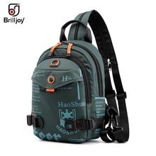 Brilljoy Mới Nam Ba Lô Học Ngực Có Túi Túi Quân Sự Thời Trang Đeo Chéo Nam Body 1 Vai Sling Backpack
