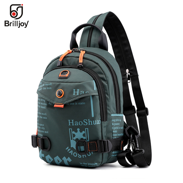 Brilljoy New Men Backpack School Bag Chest Rucksack Bag Military Casual Fashion Male Cross Body One Shoulder Bag Sling Backpack