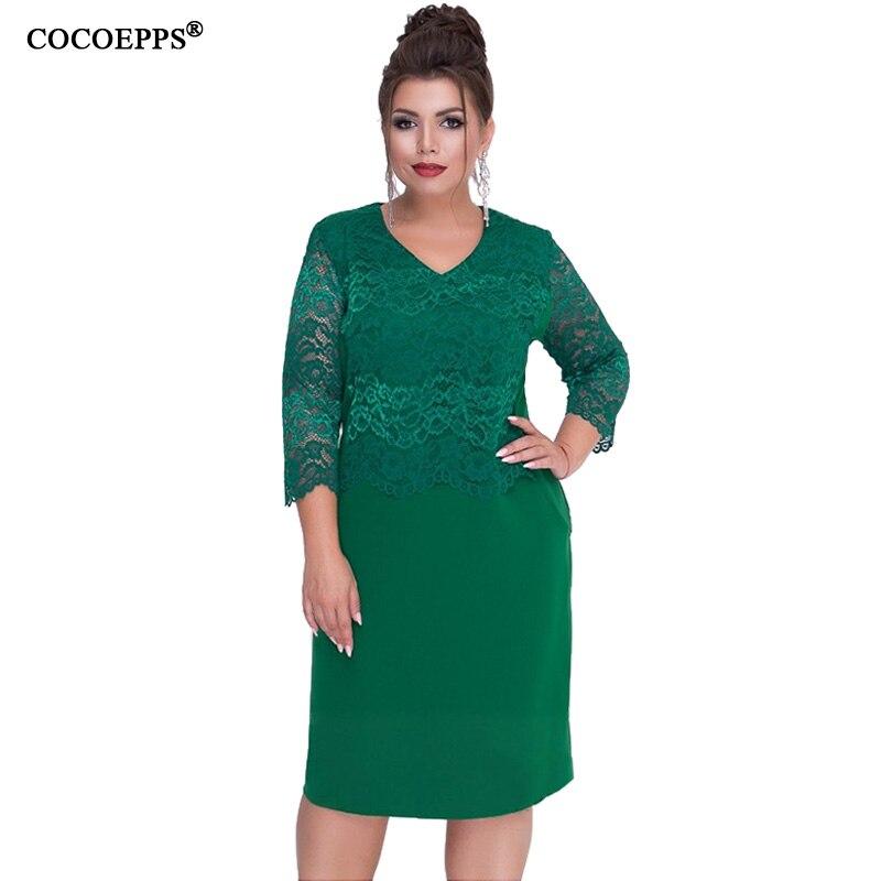 e31179af7fc0b64 COCOEPPS женское осеннее кружевное платье зима 2019 плюс большие размеры  платья пэчворк платье повседневное Плюс Размер